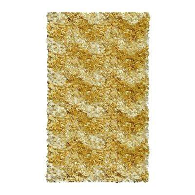 Shaggy Raggy Chevron Yellow 3 ft. x 5 ft. Indoor Area Rug