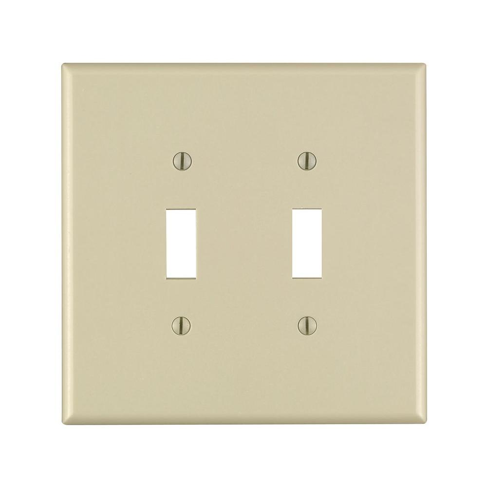 Leviton 2-Gang Jumbo Toggle Wall Plate, Ivory