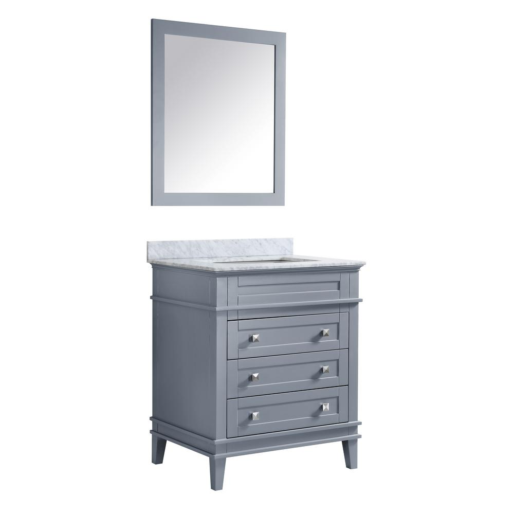 ANZZI Wineck 36 in. W x 35 in. H Bath Vanity in Gray with Marble Vanity Top in Carrara White with White Basin and Mirror