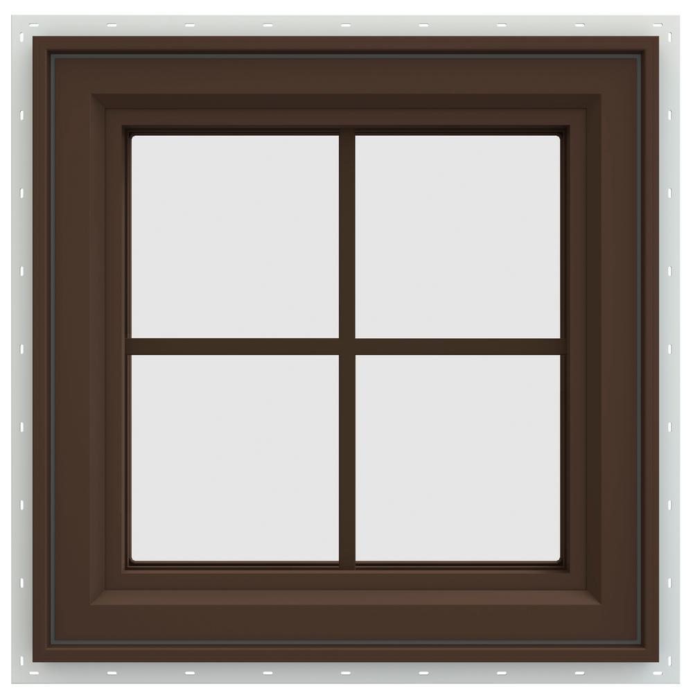 JELD-WEN 23.5 in. x 23.5 in. V-4500 Series Right-Hand Casement Vinyl Window with Grids - Brown