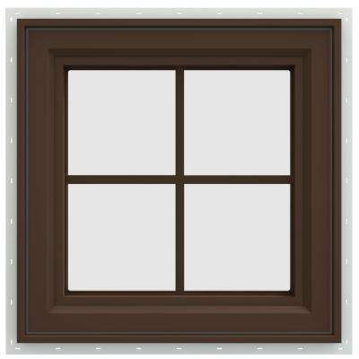 23.5 in. x 23.5 in. V-4500 Series Left-Hand Casement Vinyl Window with Grids - Brown