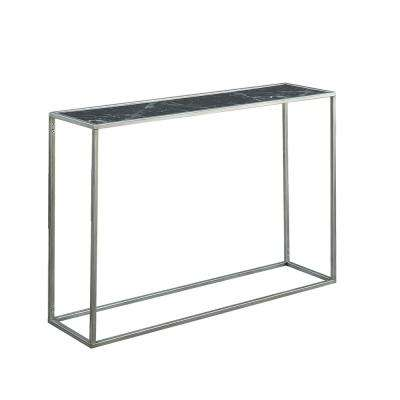 Gold Coast Black Faux Marble and Silver Console Table