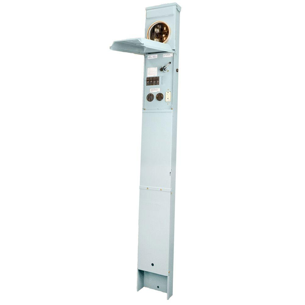GE Metered RV Earth Burial Pedestal with 50 Amp and 30 Amp RV Receptacles, 20 Amp GFCI Receptacle, and Photocell Light