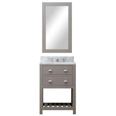 24 in. W x 21.5 in. D Vanity in Cashmere Grey with Marble Vanity Top in Carrara White, Mirror and Chrome Faucet
