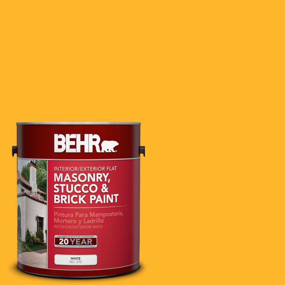 1 gal. #P260-7 Extreme Yellow Flat Interior/Exterior Masonry, Stucco and Brick