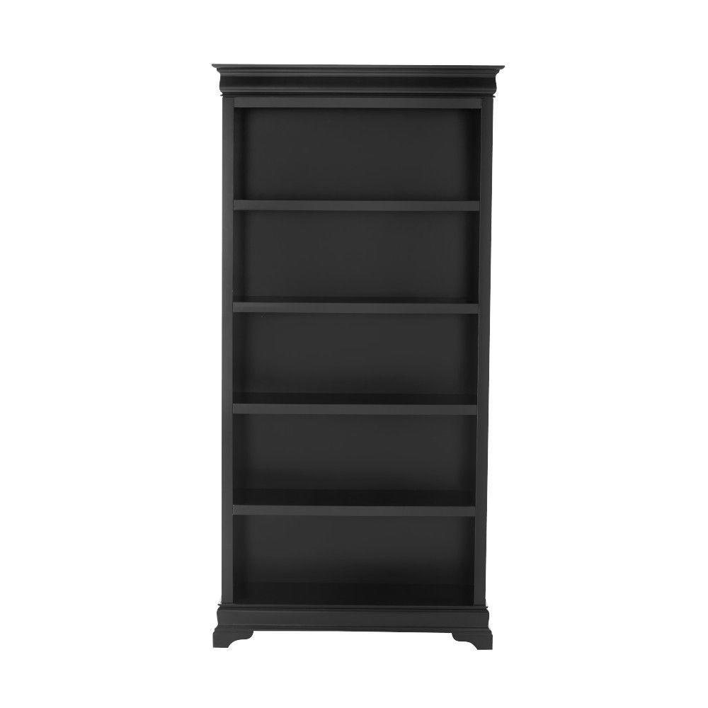 "Louis Philippe Black 36"" W 5 Shelf Open Bookcase"
