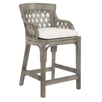 Plantation 24 in. Grey Counter Stool with Wood Rattan Frame