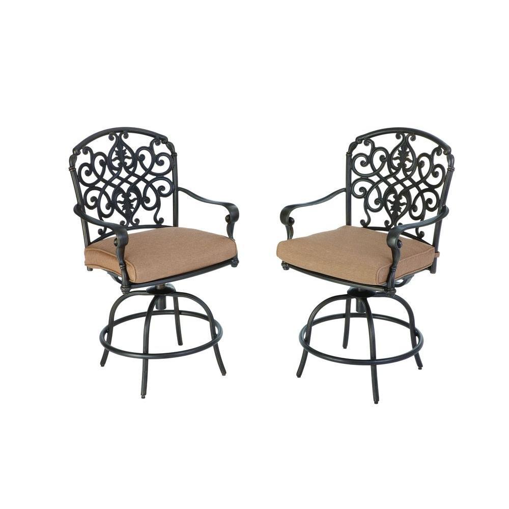 Hampton Bay Edington 2013 Swivel Patio High Dining Chair with Textured Umber Cushion (2-Pack)-DISCONTINUED