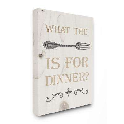 "30 in. x 40 in. ""What The Fork Funny Typography Wood Look"" by Daphne Polselli Canvas Wall Art"