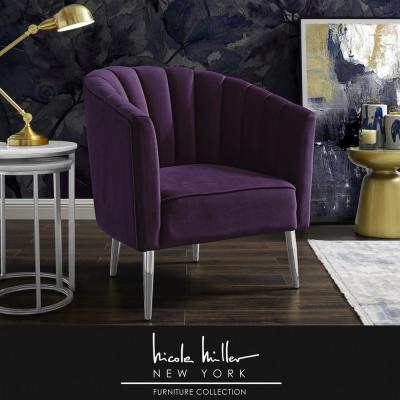 Tibii Purple/Chrome Velvet Accent Chair with Upholstered Barrel Chair