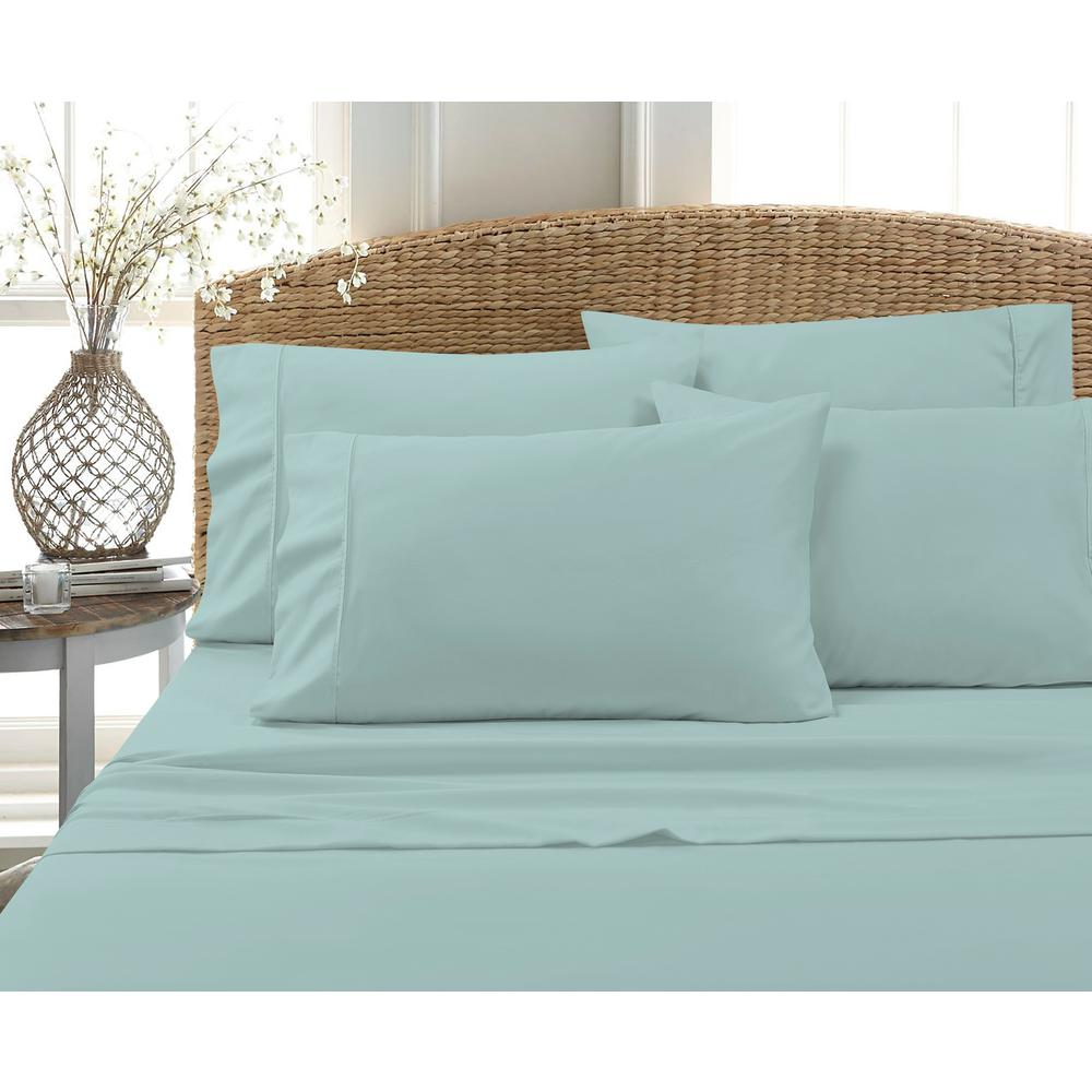 6-Piece Dusty Aqua Solid Cotton Rich Full Sheet Set