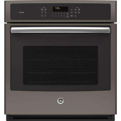 Profile 27 in. Single Electric Smart Wall Oven with Convection Self-Cleaning and Wi-Fi in Slate, Fingerprint Resistant