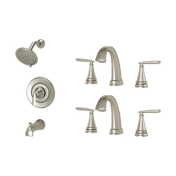 American Standard Somerville 8 In Widespread Bathroom Faucet Set Of 2 And Single Handle 3 Spray Tub And Shower Faucet Set Brushed Nickel Smrville Bndlb The Home Depot