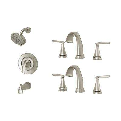 Somerville 8 in. Widespread Bathroom Faucet Set of 2 and Single-Handle 3-Spray Tub and Shower Faucet Set Brushed Nickel