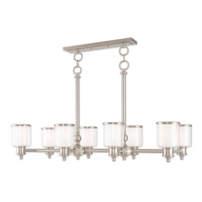 Middlebush 8-Light Brushed Nickel Linear Chandelier with Hand Crafted Clear and Satin Opal White Glass Shade
