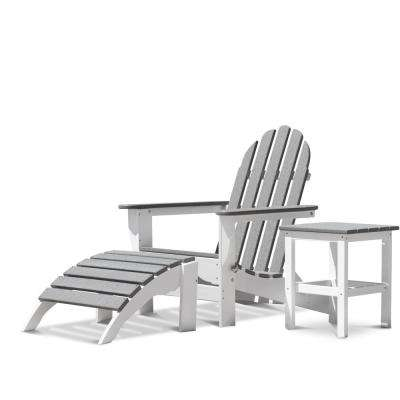 Icon White and Driftwood 3-Piece Plastic Adirondack Chair