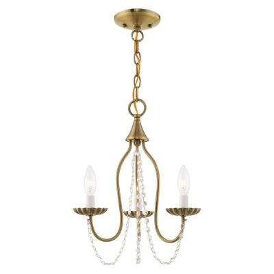 Alessia 3-Light Antique Brass Mini Chandelier with Clear Crystals