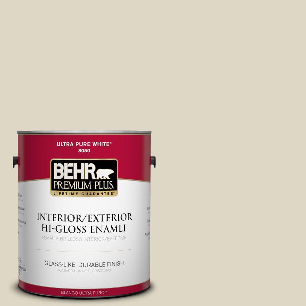 BEHR Premium Plus 1-gal. #BWC-27 Alpaca Blanket Hi-Gloss Enamel Interior/Exterior Paint