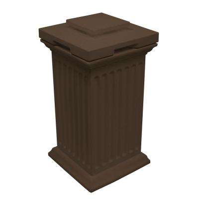 Savannah 16 in. x 16 in. x 38 in. Polyethylene Column Waste and Storage Bin in Oak