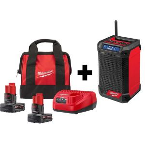 Deals on Milwaukee M12 12V Li-Ion Cordless Jobsite Radio Kit W/2 Batteries