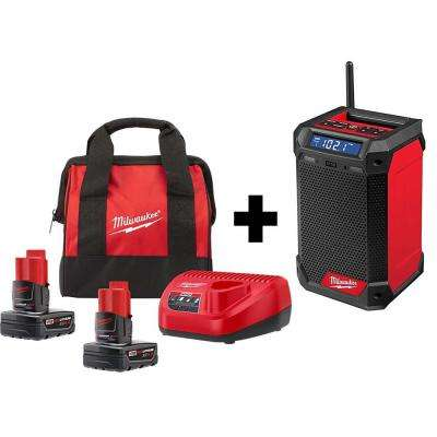 M12 12-Volt Lithium-Ion Cordless Bluetooth/AM/FM Jobsite Radio Kit W/ Two 4.0 Ah Batteries , Charger & Tool Bag