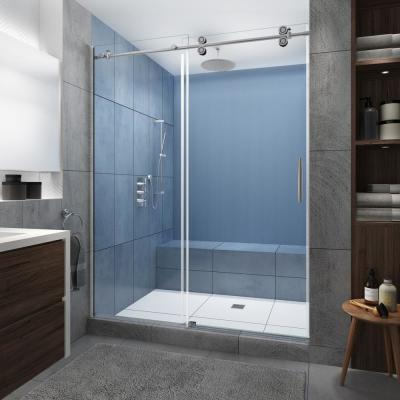 Langham XL 56 in. - 60 in. x 80 in. Frameless Sliding Shower Door w/ StarCast Clear Glass in Polished Chrome Right Hand