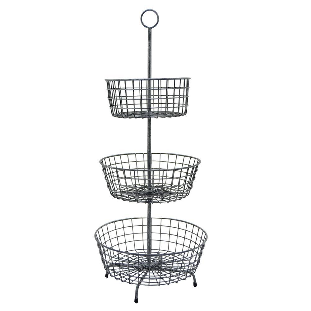 14 in. x 14 in. x 33 in. Metal 3-Tier Basket in Gray