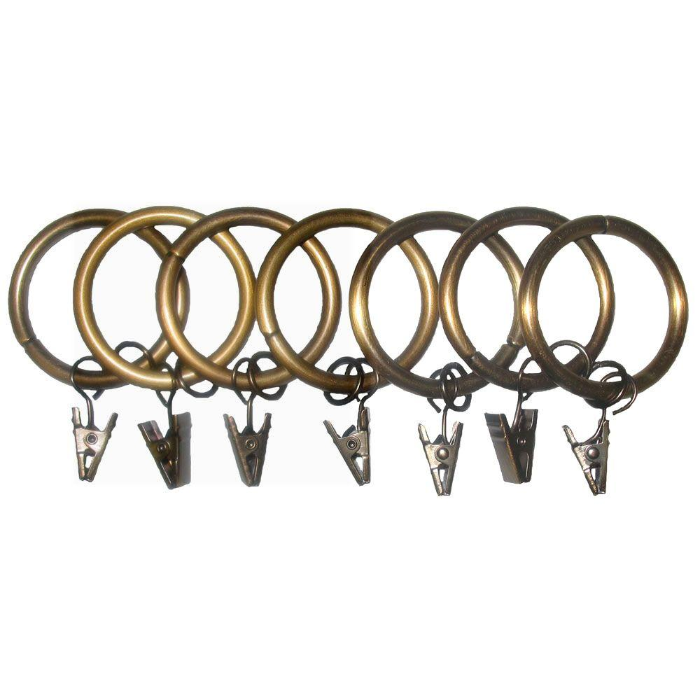 7 Pack 1-1/4 in. Egyptian Gold Drapery Rings with Clips and