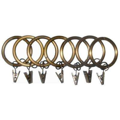 7 Pack 1-1/4 in. Egyptian Gold Drapery Rings with Clips and Jump Rings
