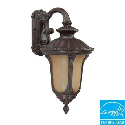 1-Light Fruitwood Fluorescent Outdoor Wall Light