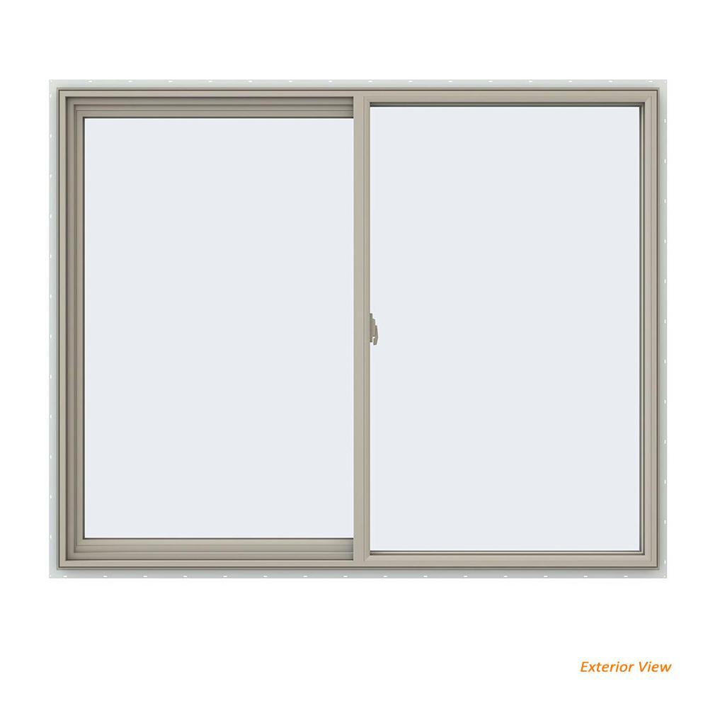 59.5 in. x 47.5 in. V-2500 Series Desert Sand Vinyl Left-Handed Sliding Window with Fiberglass Mesh Screen