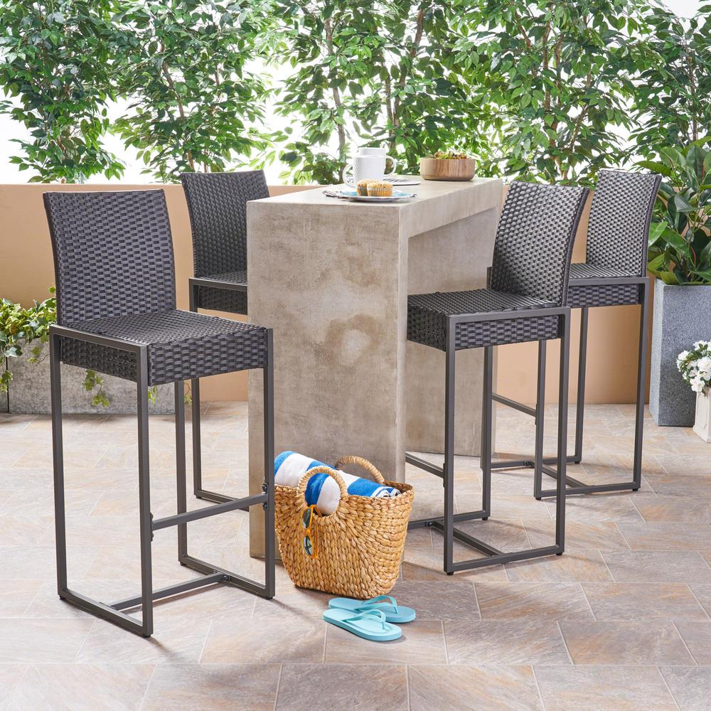Superb Noble House Conway Dark Brown Wicker Outdoor Bar Stool 4 Pack Spiritservingveterans Wood Chair Design Ideas Spiritservingveteransorg