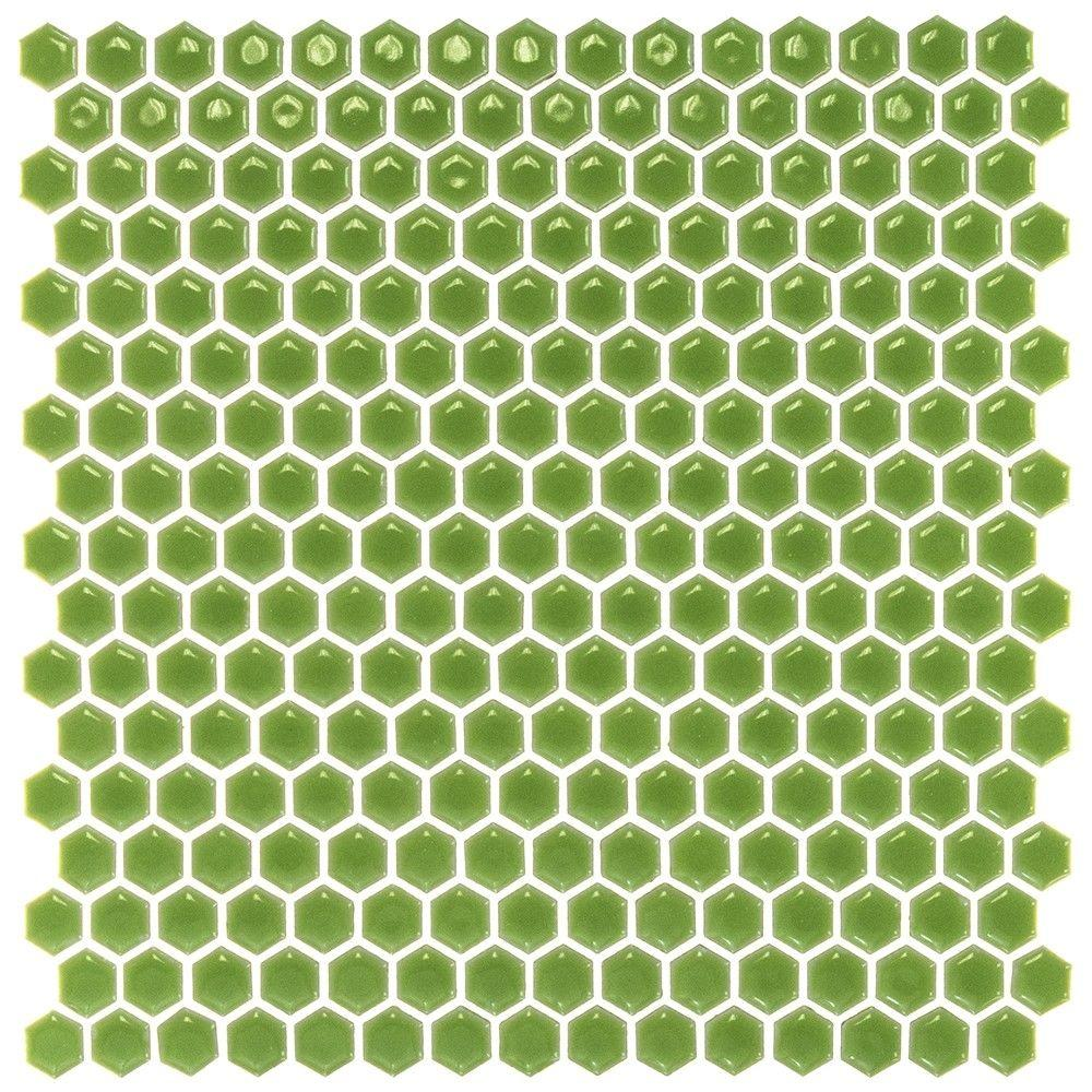 Ivy Hill Tile Bliss Edged Hexagon Polished Wheat Grass Ceramic