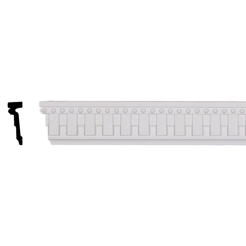 Ekena Millwork 1 in. x 3-1/8 in. x 96-1/8 in. Polyurethane Kepler Dentil with Bead Chair Rail Moulding