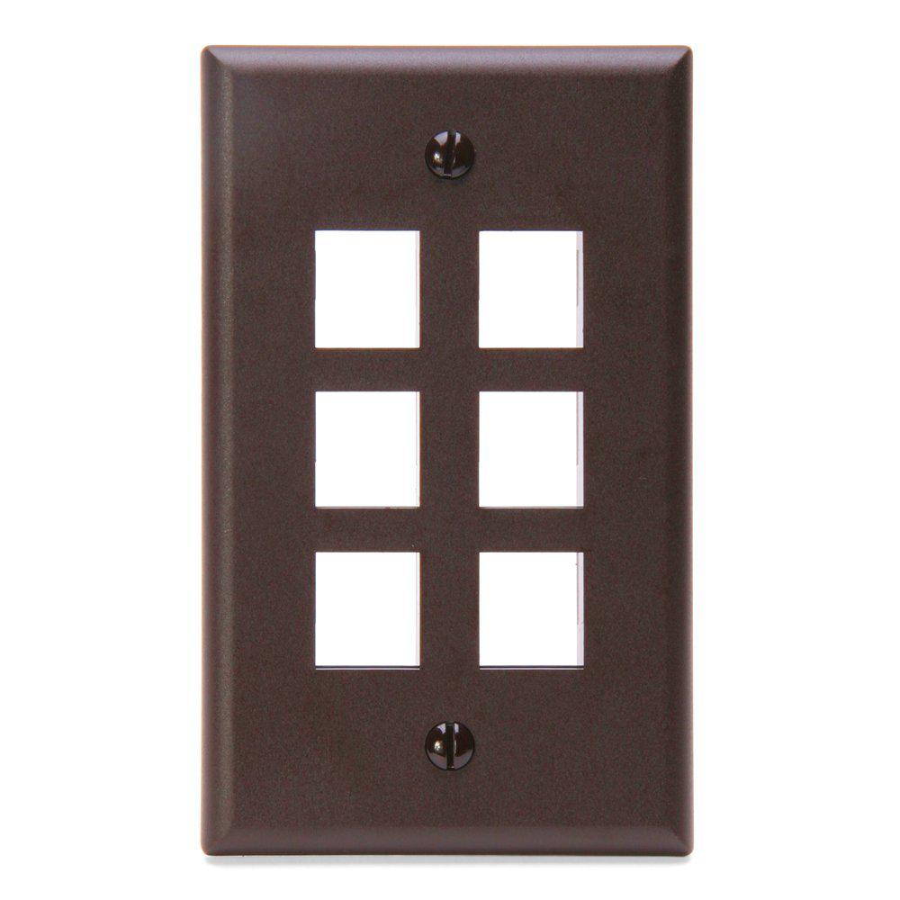 1-Gang QuickPort Standard Size 6-Port Wallplate, Brown
