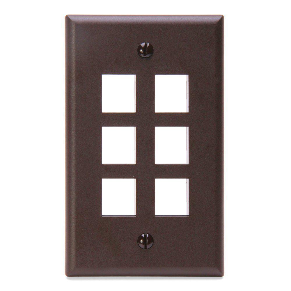 1-Gang QuickPort Standard Size 6-Port Wallplate, Brown