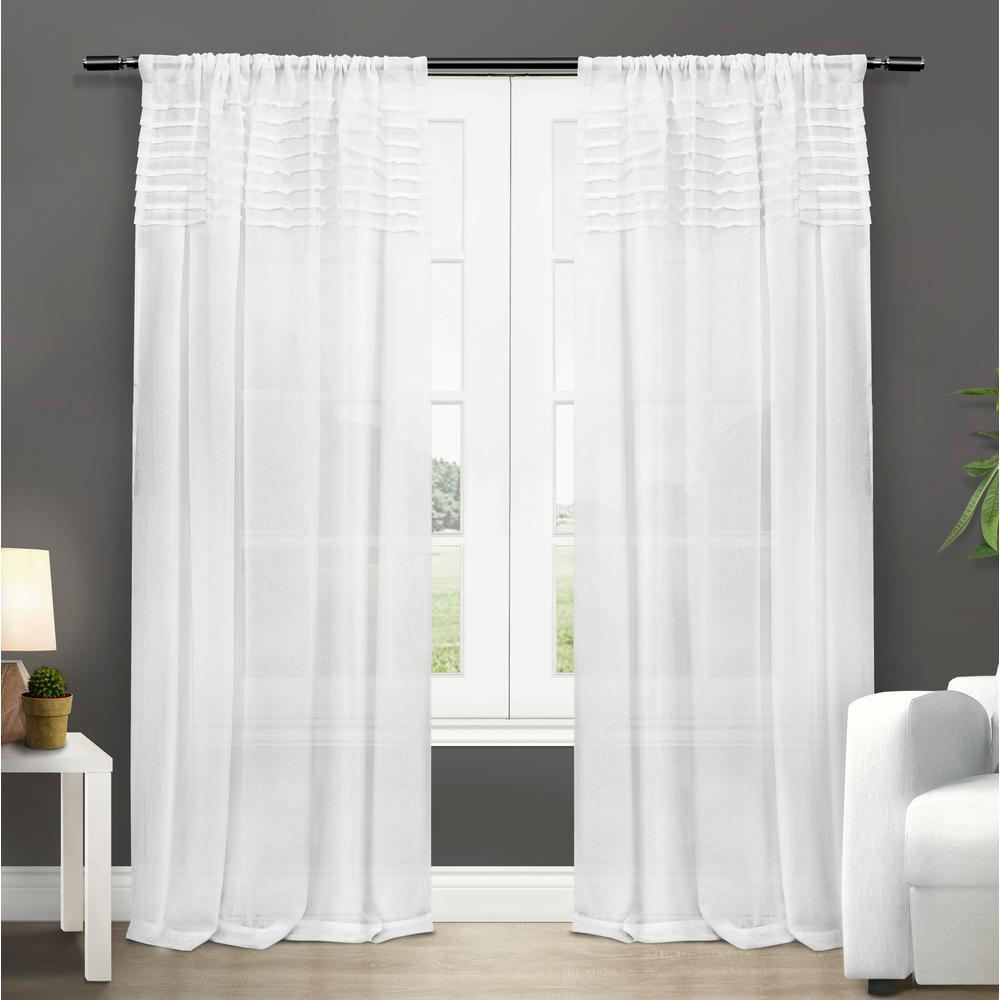 Barcelona 50 In W X 108 L Sheer Rod Pocket Top Curtain Panel Winter White 2 Panels Eh8086 01 108r The Home Depot