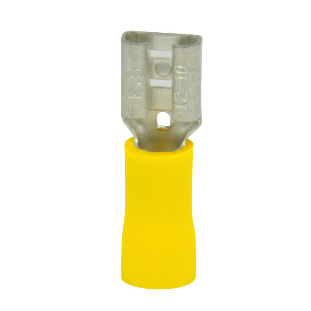 12-10 AWG Disconnect Female 0.250 Tab, Yellow (Case of 5)