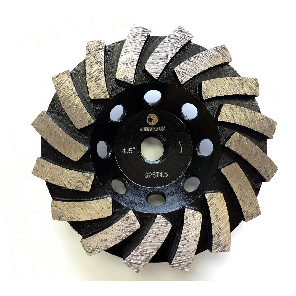 Whirlwind USA 4.5 in. Segmented Diamond Grinding Turbo Cup Wheel for Concrete and Mortar
