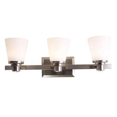 3-Light Brushed Nickel Vanity Lighting with Etched Opal Glass LED Integrated