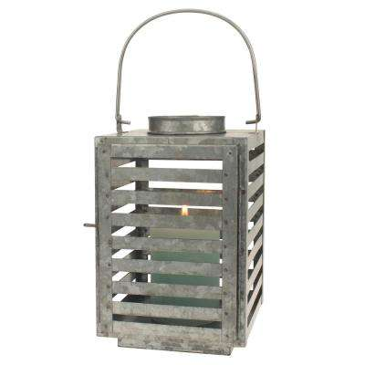 9 in. Silver Galvanized Metal Slated Lantern