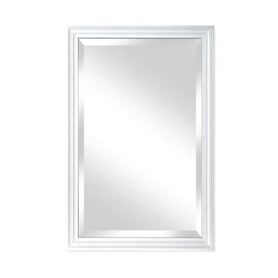 Medium Rectangle Natural White Beveled Glass Casual Mirror (36 in. H x 24 in. W)
