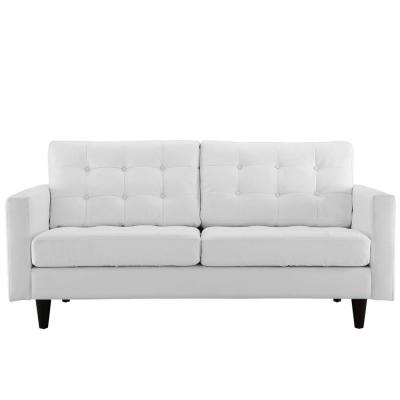 Empress 72.5 in. White Leather 2-Seater Loveseat with Removable Cushions