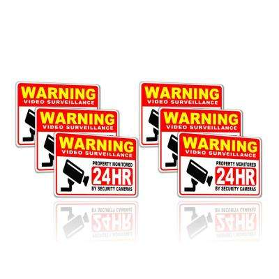 2 in. x 3 in. Video Surveillance Security Camera Sign Stickers (Pack of 6)