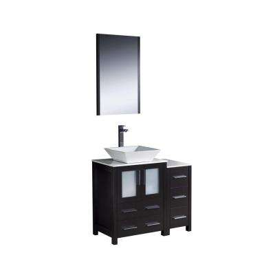 Torino 36 in. Vanity in Espresso with Glass Stone Vanity Top in White with White Basin with Mirror and 1 Side Cabinet