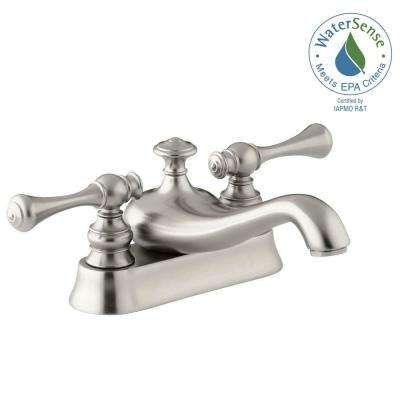 Revival 4 in. Centerset 2-Handle Low-Arc Water-Saving Bathroom Faucet in Vibrant Brushed Nickel