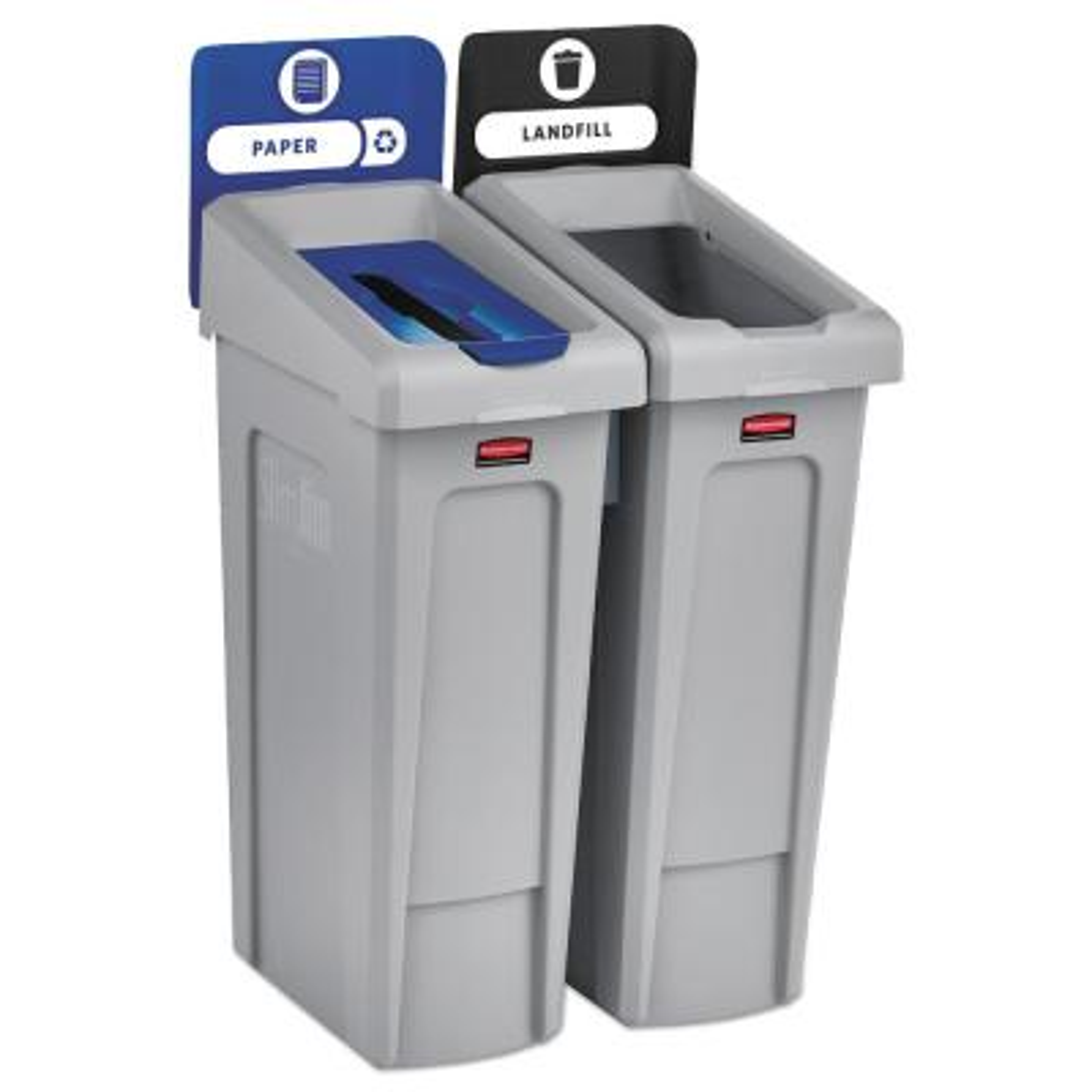 46 Gal. Slim Jim Recycling Station Kit, 2-Stream Landfill/Paper