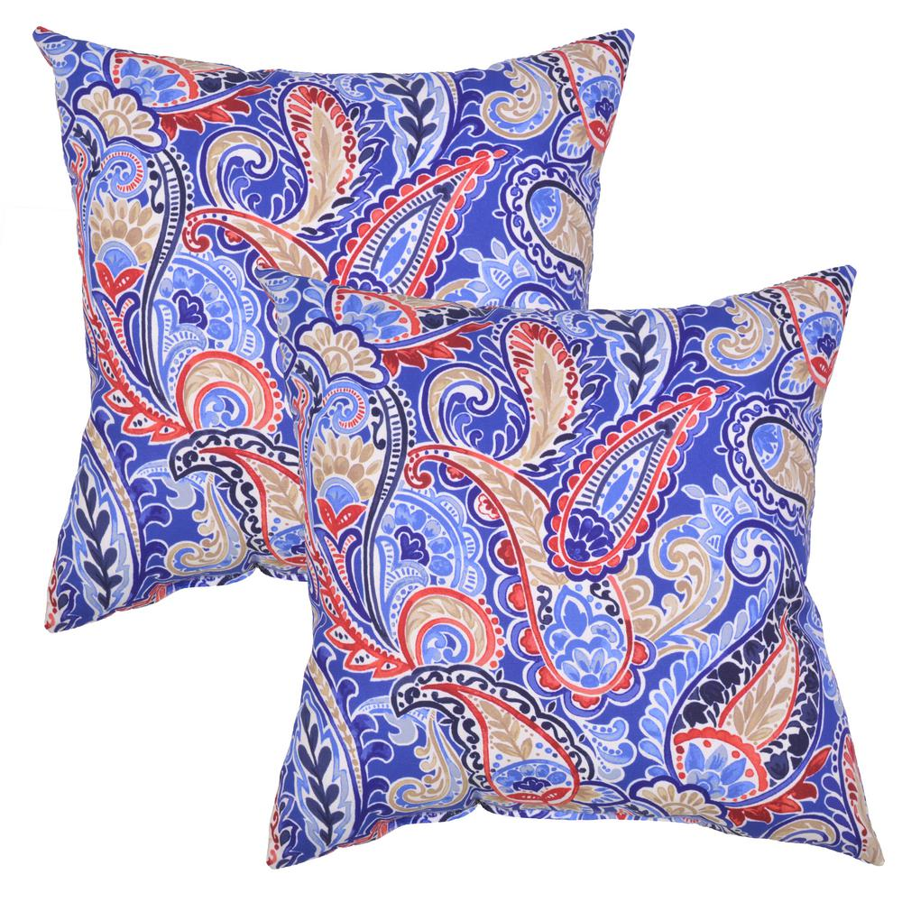 mariner paisley square outdoor throw pillow 2 pack 7680 02211700 the home depot. Black Bedroom Furniture Sets. Home Design Ideas