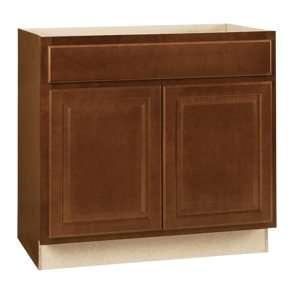 Hampton Assembled 36 x 34.5 x 21 in. Bathroom Vanity Base Cabinet in Cognac