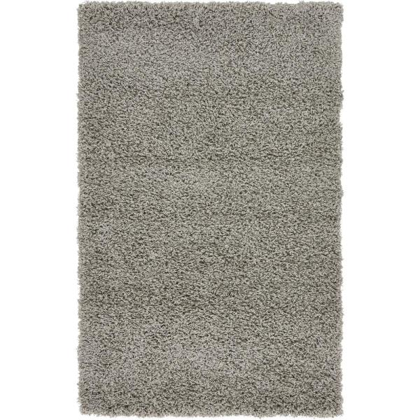 Solid Shag Cloud Gray 3 ft. x 5 ft. Area Rug